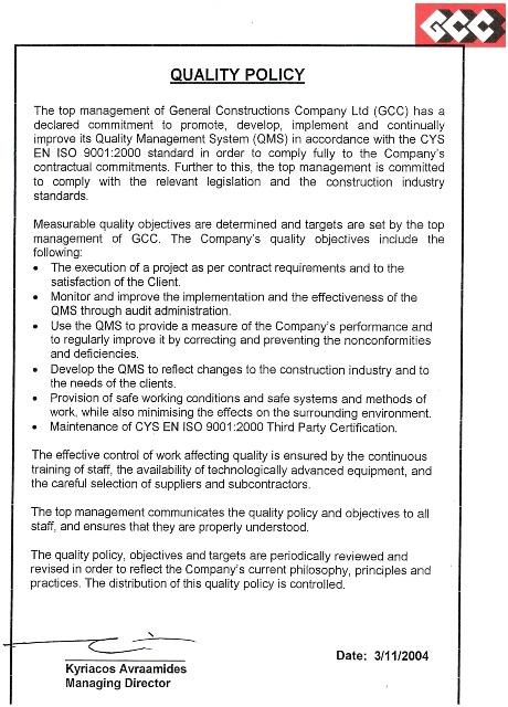 GCC GENERAL CONSTRUCTION COMPANY LTD – Company Policy
